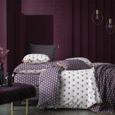 Parure de housse de couette bouton coton violet 240×260 cm
