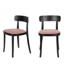2 chaises en velours et bois rose