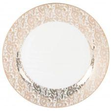 Assiette plate en porcelaine motifs dorés