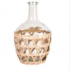 Vase Dame-Jeanne en verre et fibre végétale H26