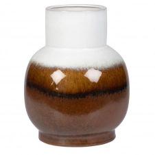 Vase en grès dégradé blanc et marron H27