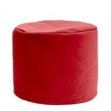 Pouf rond d'intérieur en velours rouge scarlet