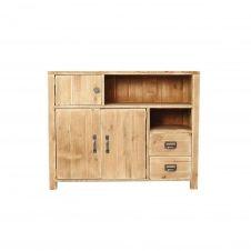Buffet 3 portes 2 tiroirs pin massif bois vieilli