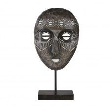 Statue de jardin masque africain noire et blanche H45