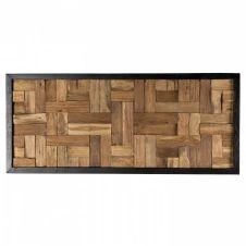 Décoration murale rectangulaire mozaïc bois teck recyclé nature 46×106