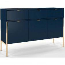 Commode 3 tiroirs 3 portes couleur bleu h78cm