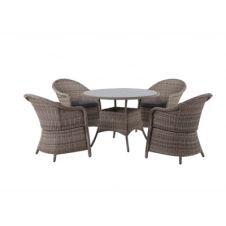Salon de jardin table+fauteuil WEAKER Résine tressée marron