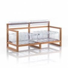 Canapé 2 places pvc transparent cadre en bois