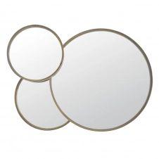 Miroirs ronds en métal coloris bronze 100×72