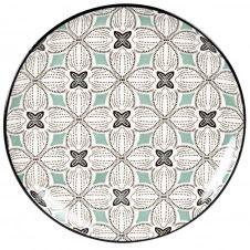 Assiette plate en grès motifs graphiques bleu gris, verts et blancs