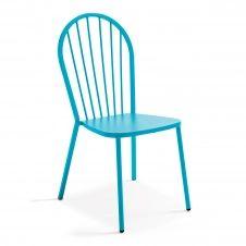 Chaise bistrot en métal bleu