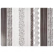 Set de table motifs graphiques blancs et noirs