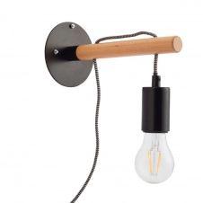 Applique bois et métal avec interrupteur H26cm