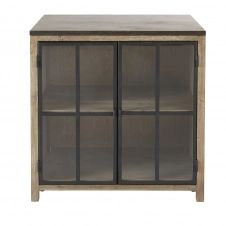 Meuble bas de cuisine 2 portes vitrées en pin recyclé grisé Greta