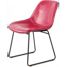 Chaise tradition imitation cuir couleur rose (lot de 2)