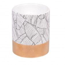 Bougie parfumée en céramique blanche et dorée imprimé végétal noir