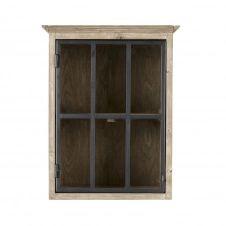 Meuble de cuisine haut 1 porte vitrée poignée à droite en pin recyclé Greta