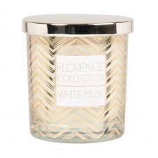 Bougie parfumée en verre à motifs blancs, dorés et métal
