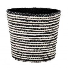Panier en fibre végétale noire et blanche