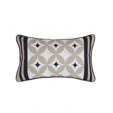 Coussin d'extérieur écru, beige et noir motifs graphiques 30×50