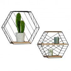 Set de 2 étagères murales hexagonales LILY en métal design industriel