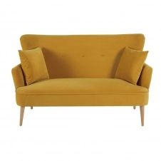 Canapé 2 places en velours jaune moutarde Leon