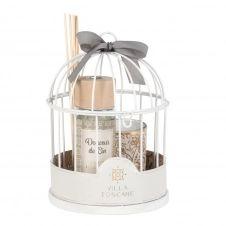 Diffuseur en verre et bougie parfumée support cage en métal blanc