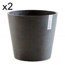 Lot de 2 pots de fleurs noir D30