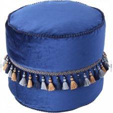 Pouf velours bleu h38cm