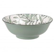 Saladier en porcelaine blanche motif végétal vert D21