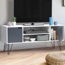Meuble TV vintage NOEMI bois blanc pied épingle