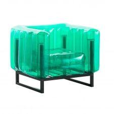 Fauteuil tpu vert cristal cadre en aluminium