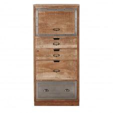Meuble de cuisine colonne fermée 4 tiroirs en manguier massif et métal Melchior