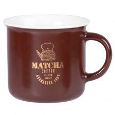 Mug en porcelaine marron inscriptions dorées