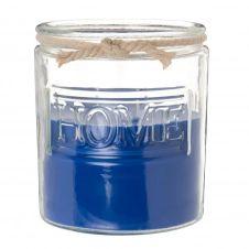 Bougie parfumée bleue en verre et corde