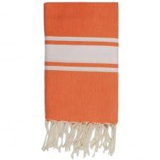 Fouta en coton bande blanche 100×200 Orange mandarine