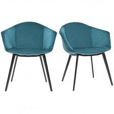 Chaises design en velours bleu pétrole et métal (lot de 2) TAYA