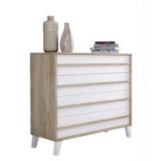 Commode 4 tiroirs OTAWA style scandinave imitation chêne et blanc