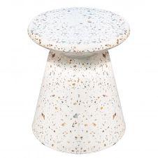 Bout de canapé en terrazzo blanc D 40 cm