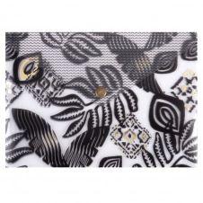 Pochette A5 en plastique blanc et motif feuillage noir