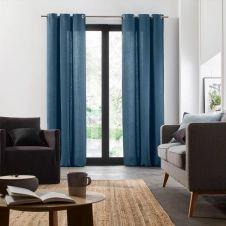 Rideau à oeillets 135×280 cm Bleu et feston