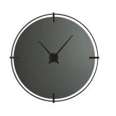 Horloge en verre fumé et métal noir D95