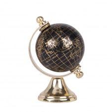 Globe terrestre carte du monde en métal doré et noir