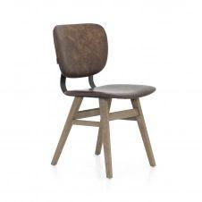 Chaises en chêne et métal assise tissu imitation cuir