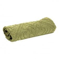Tapis de bain uni  en coton matcha 54 x 64