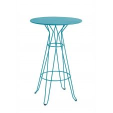 CAPRI – Table rond haute en acier bleu D80