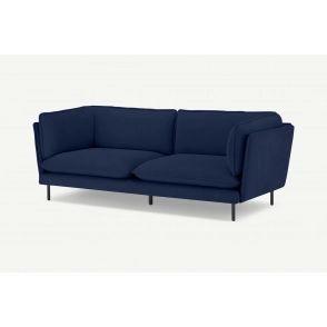 Canapé 3 places, velours côtelé fin bleu nuit