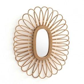 Miroir en rotin forme ovale, nogu