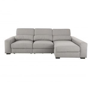 Canapé d'angle droit 4 places gris clair