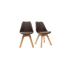 Chaises design chocolat avec pieds bois clair (lot de 2)